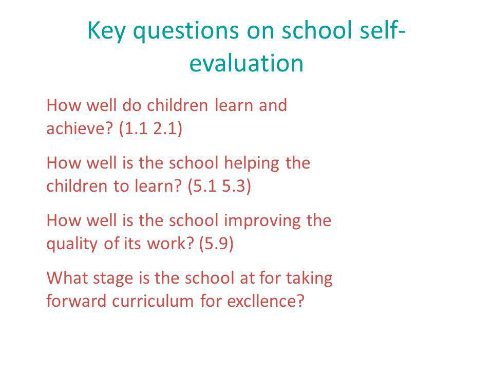 Key questions on school self- evaluation How well do children learn and achieve.