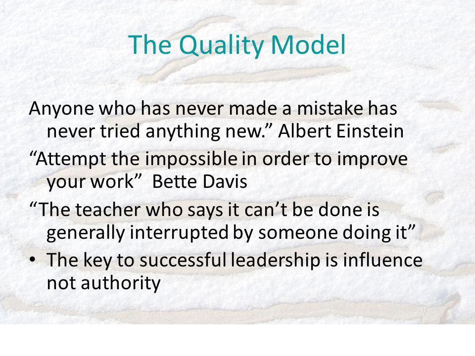 Anyone who has never made a mistake has never tried anything new. Albert Einstein Attempt the impossible in order to improve your work Bette Davis The teacher who says it can't be done is generally interrupted by someone doing it The key to successful leadership is influence not authority The Quality Model