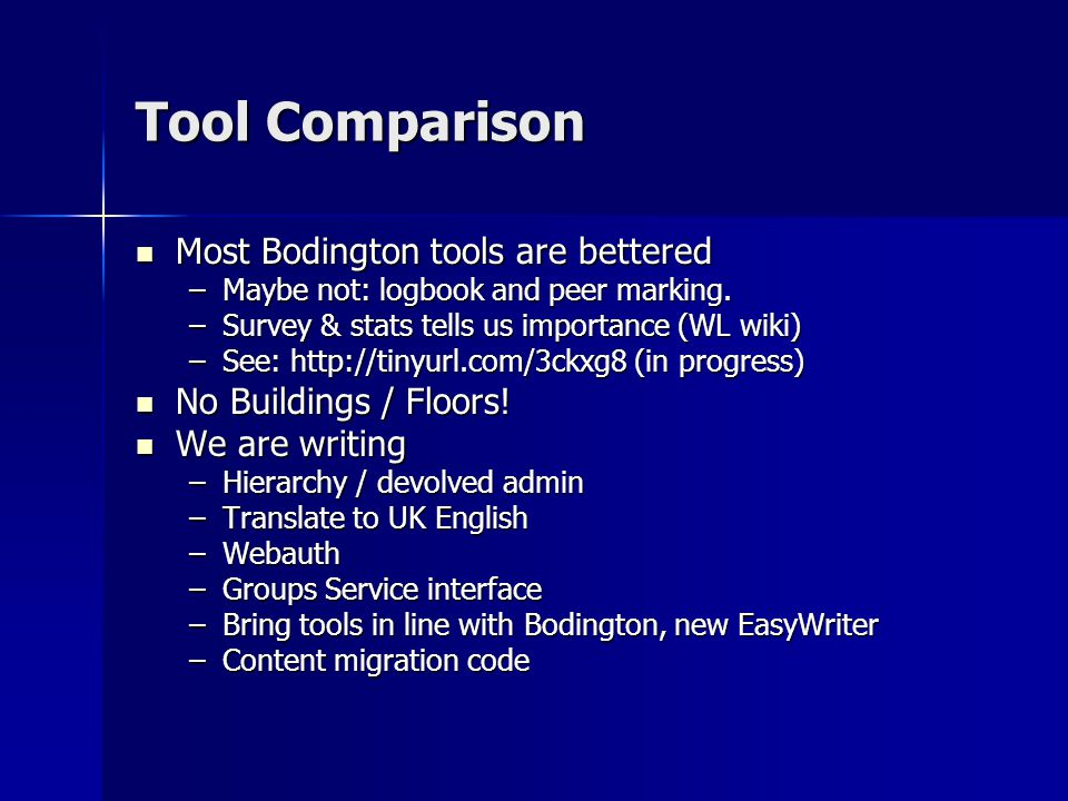 Tool Comparison Most Bodington tools are bettered Most Bodington tools are bettered –Maybe not: logbook and peer marking.