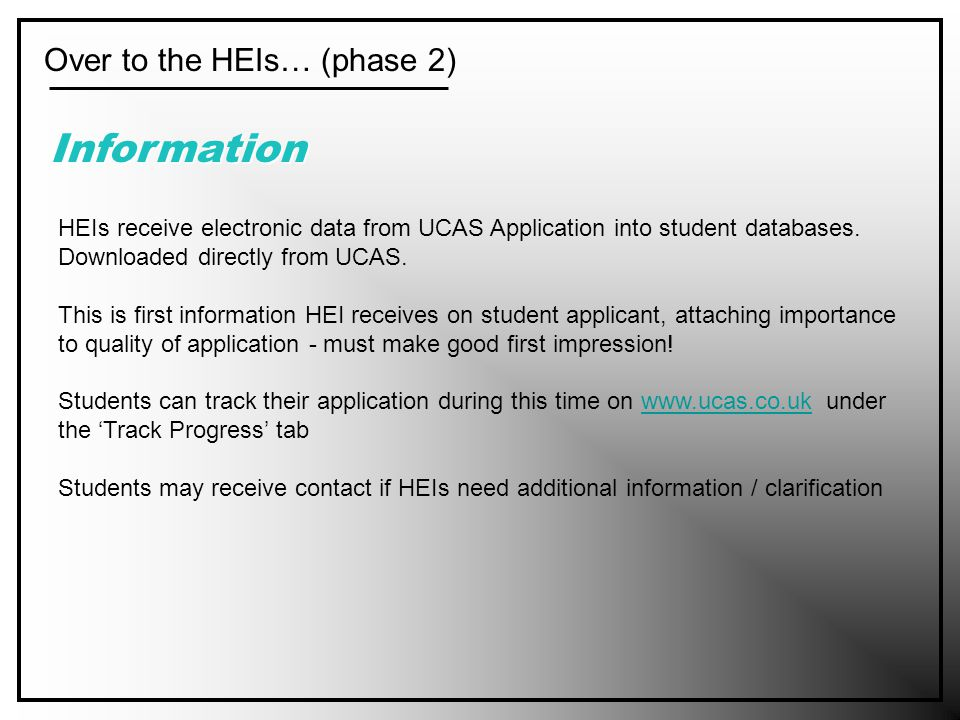 Over to the HEIs… (phase 2) Information HEIs receive electronic data from UCAS Application into student databases.