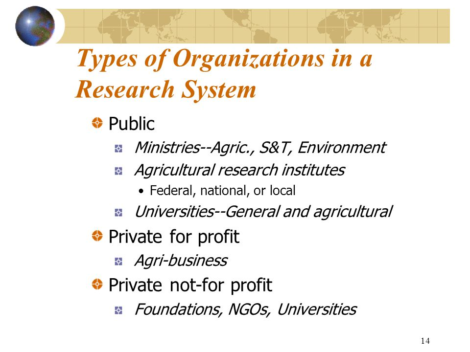 14 Types of Organizations in a Research System Public Ministries--Agric., S&T, Environment Agricultural research institutes Federal, national, or local Universities--General and agricultural Private for profit Agri-business Private not-for profit Foundations, NGOs, Universities