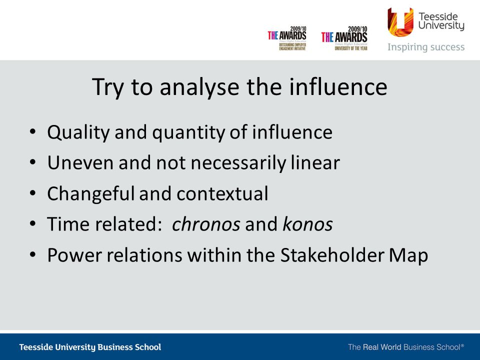 Try to analyse the influence Quality and quantity of influence Uneven and not necessarily linear Changeful and contextual Time related: chronos and konos Power relations within the Stakeholder Map