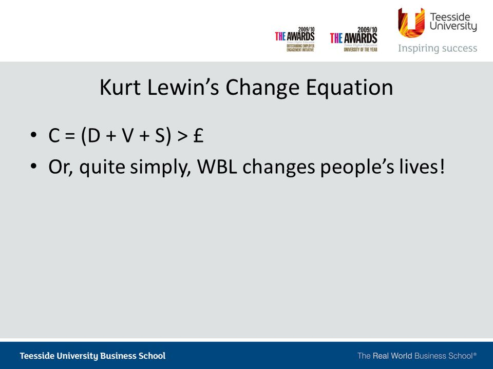 Kurt Lewin's Change Equation C = (D + V + S) > £ Or, quite simply, WBL changes people's lives!