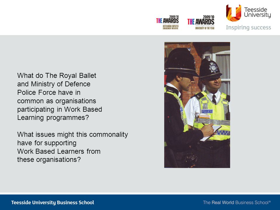 What do The Royal Ballet and Ministry of Defence Police Force have in common as organisations participating in Work Based Learning programmes.