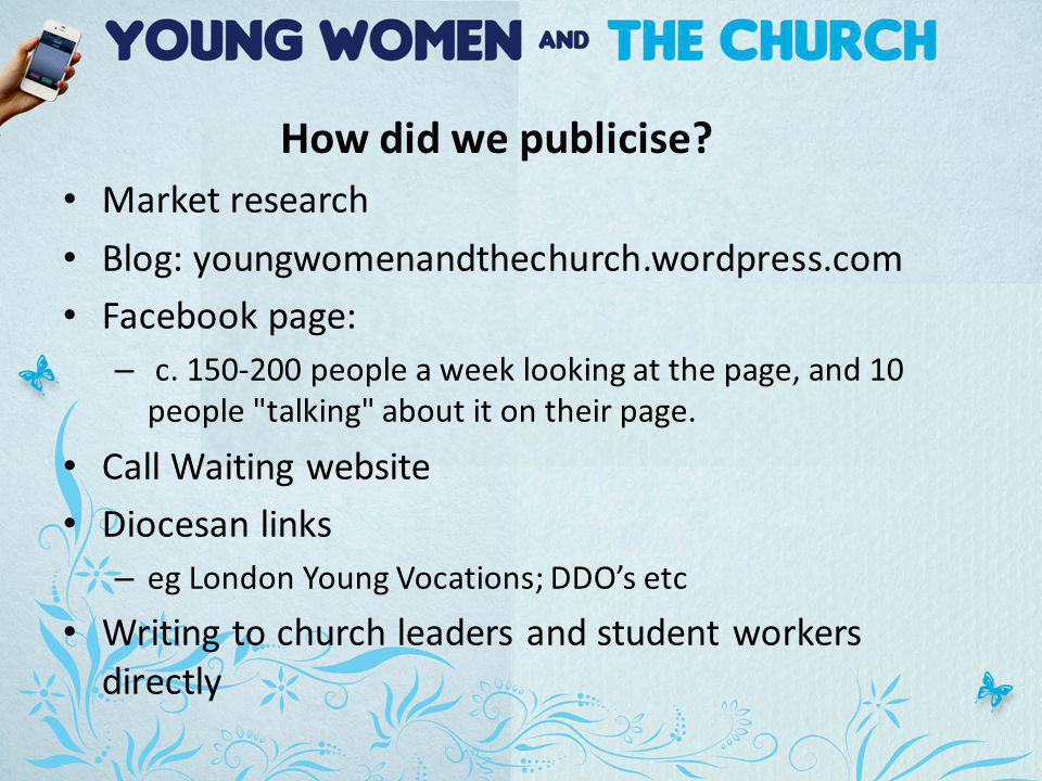 Market research Blog: youngwomenandthechurch.wordpress.com Facebook page: – c.