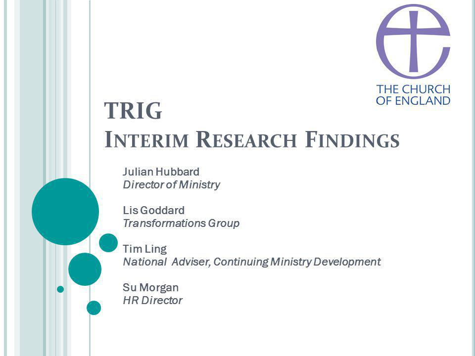 TRIG I NTERIM R ESEARCH F INDINGS Julian Hubbard Director of Ministry Lis Goddard Transformations Group Tim Ling National Adviser, Continuing Ministry Development Su Morgan HR Director