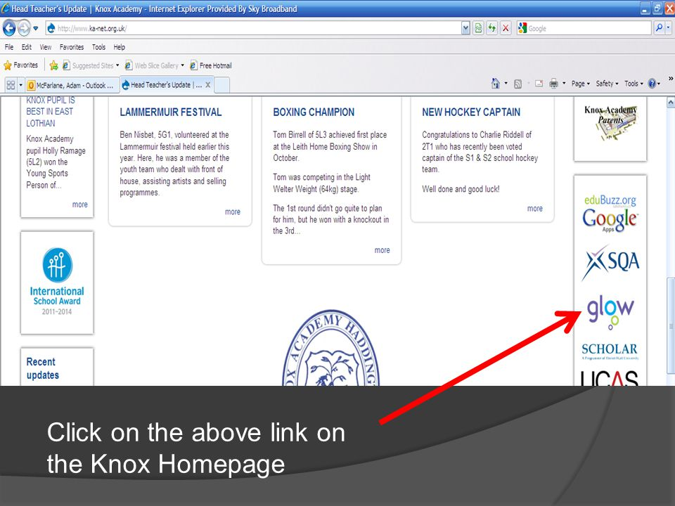 Click on the above link on the Knox Homepage
