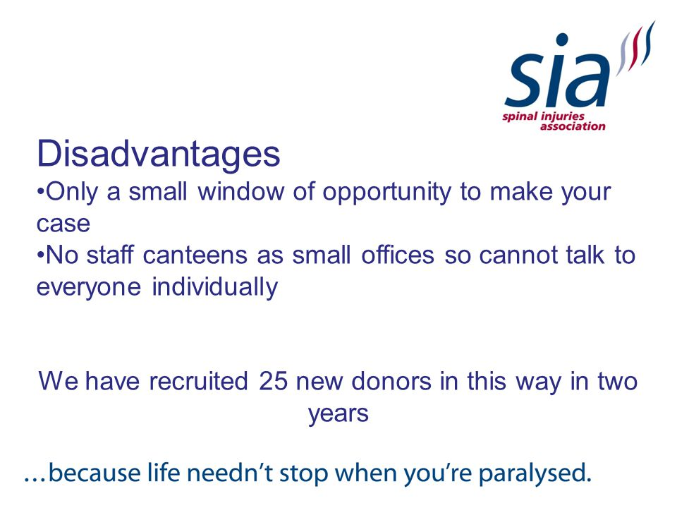 Disadvantages Only a small window of opportunity to make your case No staff canteens as small offices so cannot talk to everyone individually We have recruited 25 new donors in this way in two years