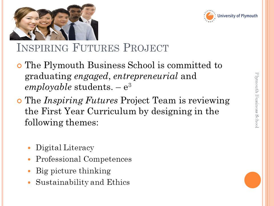 I NSPIRING F UTURES P ROJECT The Plymouth Business School is committed to graduating engaged, entrepreneurial and employable students.