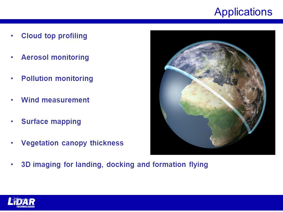 Applications Cloud top profiling Aerosol monitoring Pollution monitoring Wind measurement Surface mapping Vegetation canopy thickness 3D imaging for landing, docking and formation flying