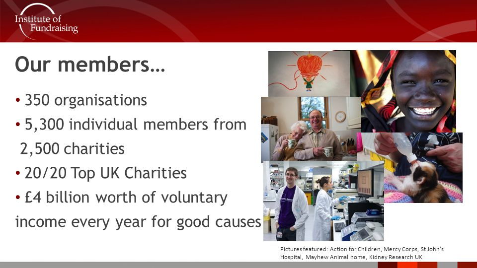 Our members… 350 organisations 5,300 individual members from 2,500 charities 20/20 Top UK Charities £4 billion worth of voluntary income every year for good causes Pictures featured: Action for Children, Mercy Corps, St John's Hospital, Mayhew Animal home, Kidney Research UK