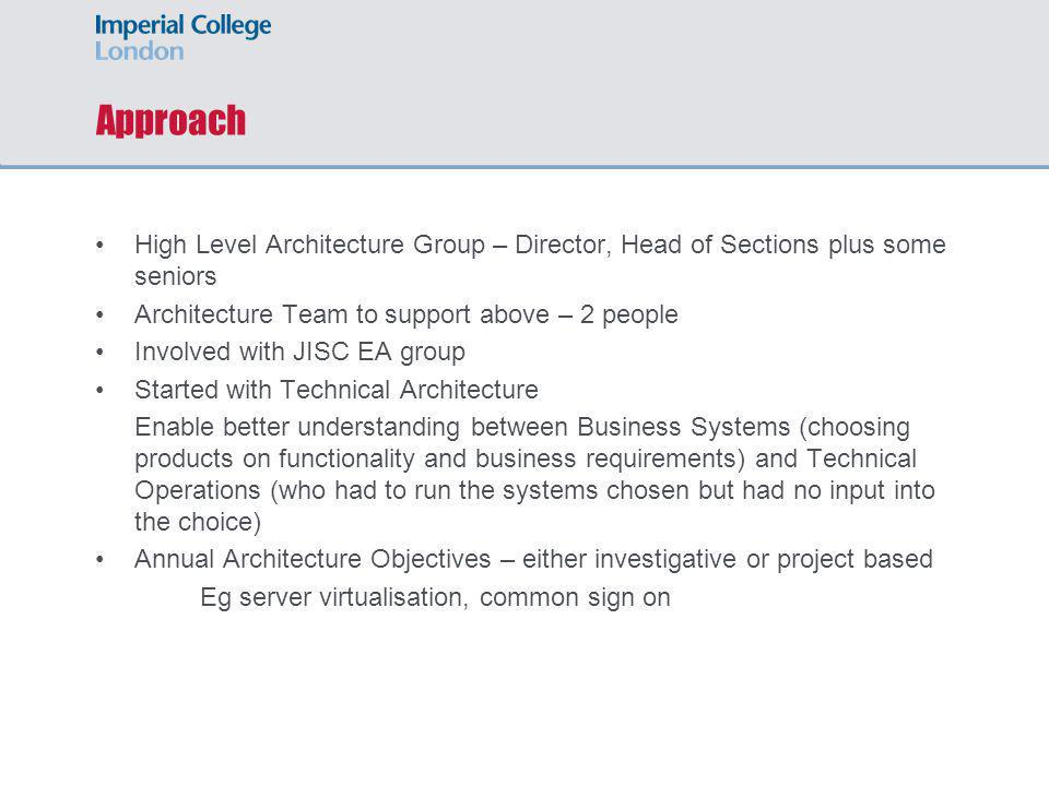 Approach High Level Architecture Group – Director, Head of Sections plus some seniors Architecture Team to support above – 2 people Involved with JISC EA group Started with Technical Architecture Enable better understanding between Business Systems (choosing products on functionality and business requirements) and Technical Operations (who had to run the systems chosen but had no input into the choice) Annual Architecture Objectives – either investigative or project based Eg server virtualisation, common sign on