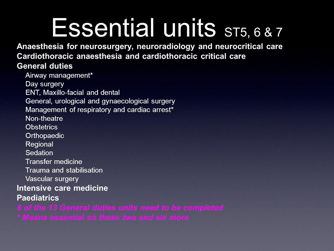 Anaesthesia for neurosurgery, neuroradiology and neurocritical care Cardiothoracic anaesthesia and cardiothoracic critical care General duties Airway management* Day surgery ENT, Maxillo-facial and dental General, urological and gynaecological surgery Management of respiratory and cardiac arrest* Non-theatre Obstetrics Orthopaedic Regional Sedation Transfer medicine Trauma and stabilisation Vascular surgery Intensive care medicine Paediatrics 8 of the 13 General duties units need to be completed * Means essential so these two and six more Essential units ST5, 6 & 7