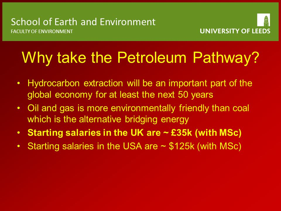 School of Earth and Environment FACULTY OF ENVIRONMENT Why take the Petroleum Pathway.