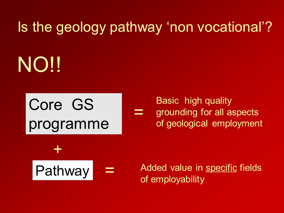 Is the geology pathway 'non vocational'. NO!.