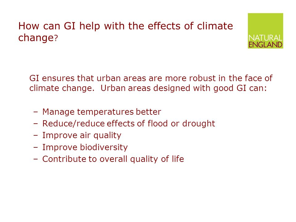 How can GI help with the effects of climate change .