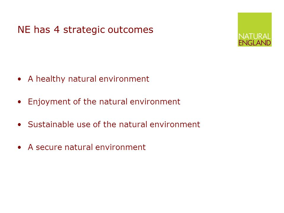 NE has 4 strategic outcomes A healthy natural environment Enjoyment of the natural environment Sustainable use of the natural environment A secure natural environment