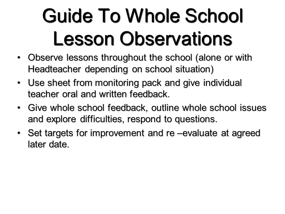Guide To Whole School Lesson Observations Observe lessons throughout the school (alone or with Headteacher depending on school situation)Observe lessons throughout the school (alone or with Headteacher depending on school situation) Use sheet from monitoring pack and give individual teacher oral and written feedback.Use sheet from monitoring pack and give individual teacher oral and written feedback.
