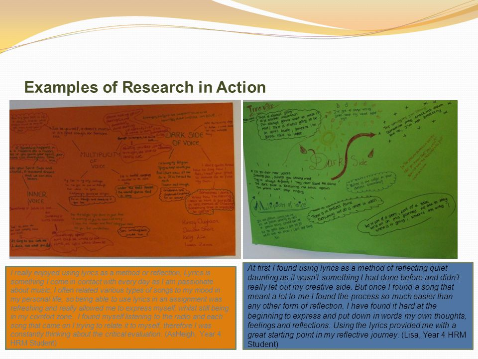 Examples of Research in Action I really enjoyed using lyrics as a method or reflection, Lyrics is something I come in contact with every day as I am passionate about music.