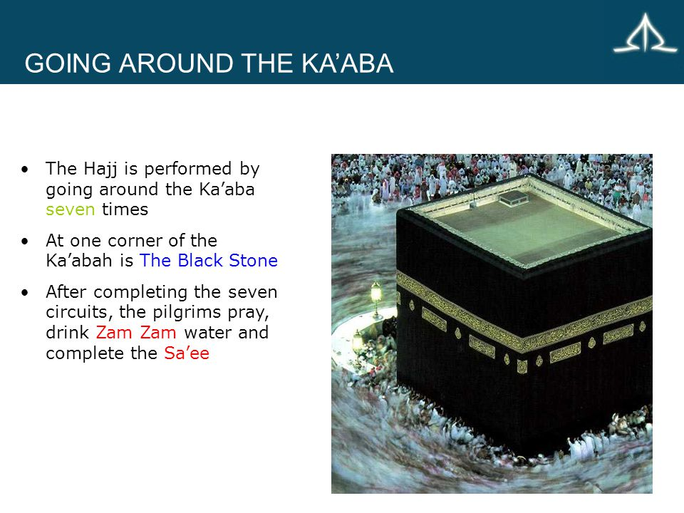 GOING AROUND THE KA'ABA The Hajj is performed by going around the Ka'aba seven times At one corner of the Ka'abah is The Black Stone After completing the seven circuits, the pilgrims pray, drink Zam Zam water and complete the Sa'ee