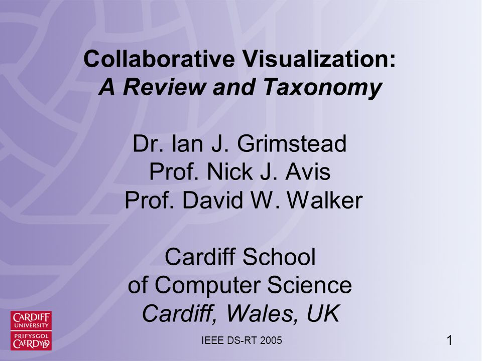 1 IEEE DS-RT 2005 Collaborative Visualization: A Review and Taxonomy Dr.