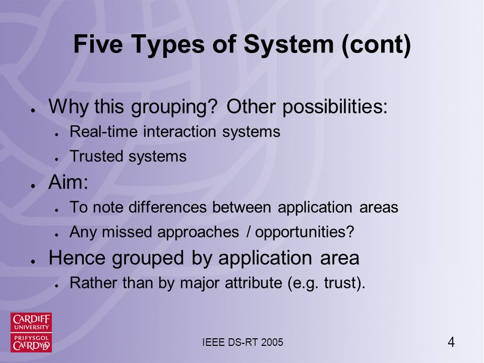 4 IEEE DS-RT 2005 Five Types of System (cont) ● Why this grouping.
