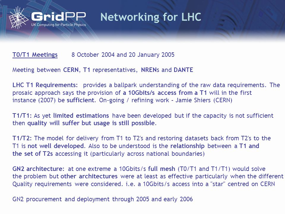 Networking for LHC T0/T1 Meetings 8 October 2004 and 20 January 2005 Meeting between CERN, T1 representatives, NRENs and DANTE LHC T1 Requirements: provides a ballpark understanding of the raw data requirements.
