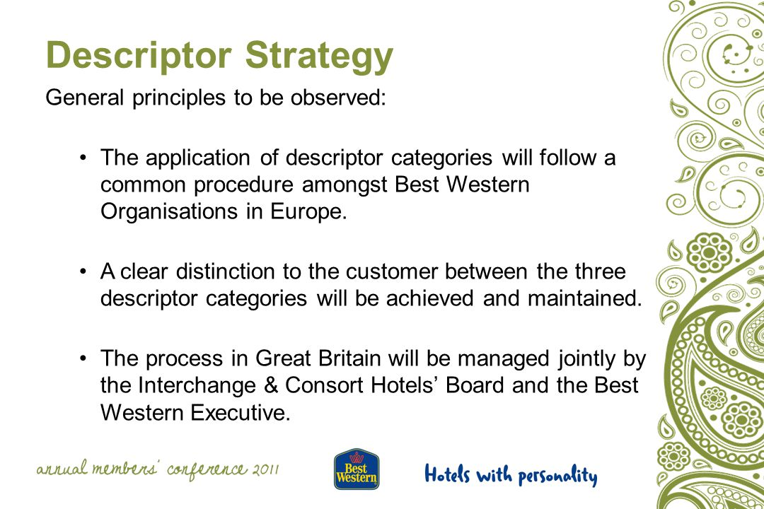 Descriptor Strategy General principles to be observed: The application of descriptor categories will follow a common procedure amongst Best Western Organisations in Europe.