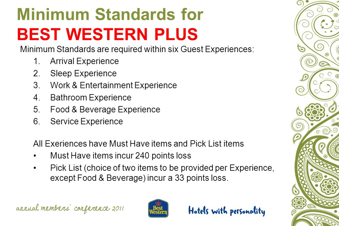 Minimum Standards for BEST WESTERN PLUS Minimum Standards are required within six Guest Experiences: 1.Arrival Experience 2.Sleep Experience 3.Work & Entertainment Experience 4.Bathroom Experience 5.Food & Beverage Experience 6.Service Experience All Exeriences have Must Have items and Pick List items Must Have items incur 240 points loss Pick List (choice of two items to be provided per Experience, except Food & Beverage) incur a 33 points loss.