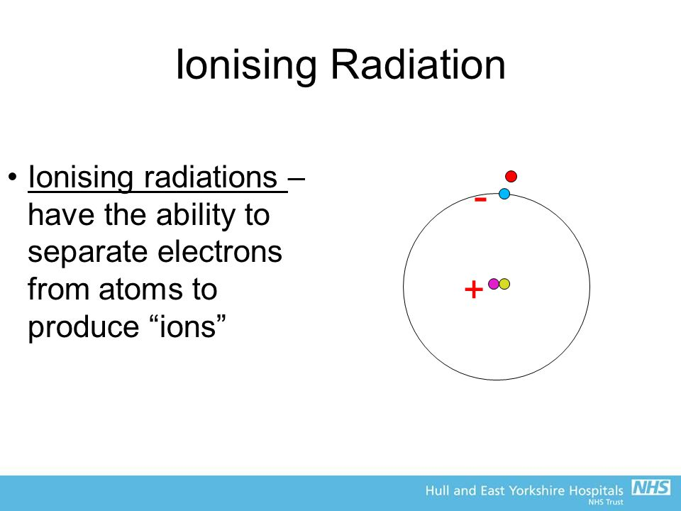 Ionising Radiation Ionising radiations – have the ability to separate electrons from atoms to produce ions + -