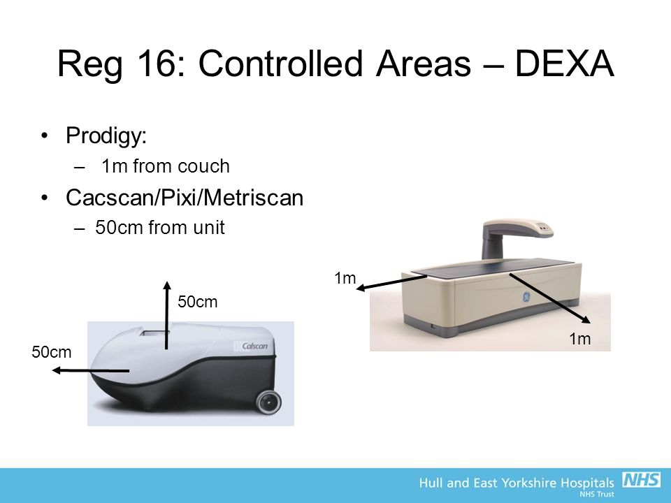 Reg 16: Controlled Areas – DEXA Prodigy: – 1m from couch Cacscan/Pixi/Metriscan –50cm from unit 50cm 1m