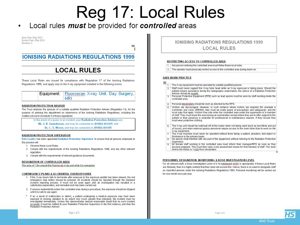 Reg 17: Local Rules Local rules must be provided for controlled areas