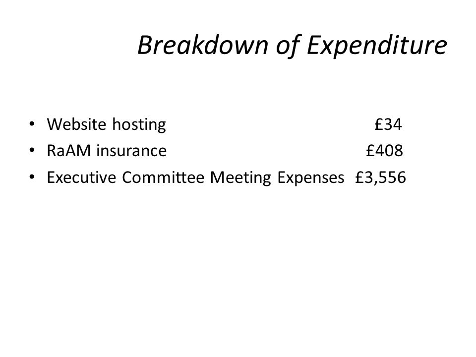 Breakdown of Expenditure Website hosting £34 RaAM insurance £408 Executive Committee Meeting Expenses £3,556