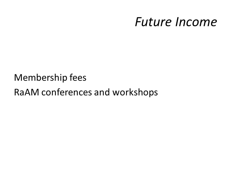 Future Income Membership fees RaAM conferences and workshops