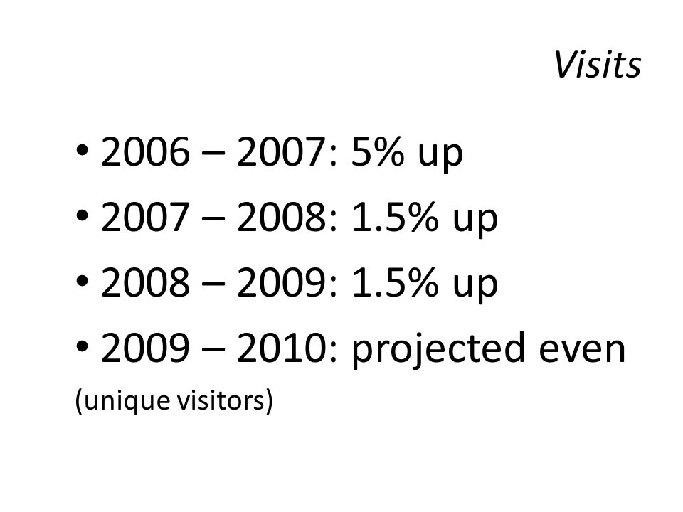 Visits 2006 – 2007: 5% up 2007 – 2008: 1.5% up 2008 – 2009: 1.5% up 2009 – 2010: projected even (unique visitors)