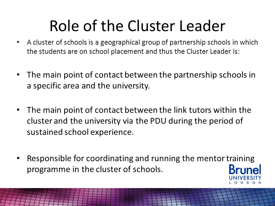 Role of the Cluster Leader A cluster of schools is a geographical group of partnership schools in which the students are on school placement and thus the Cluster Leader is: The main point of contact between the partnership schools in a specific area and the university.