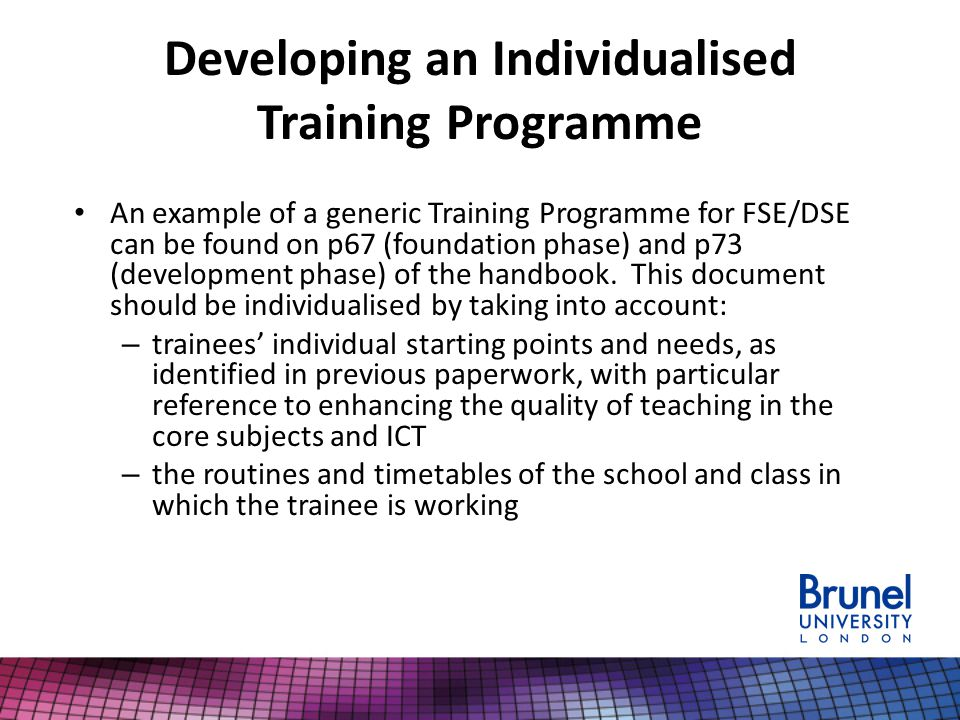 Developing an Individualised Training Programme An example of a generic Training Programme for FSE/DSE can be found on p67 (foundation phase) and p73 (development phase) of the handbook.