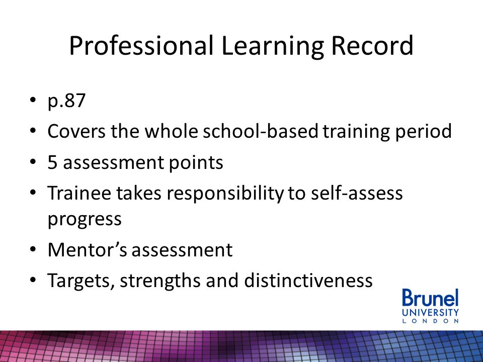 Professional Learning Record p.87 Covers the whole school-based training period 5 assessment points Trainee takes responsibility to self-assess progress Mentor's assessment Targets, strengths and distinctiveness