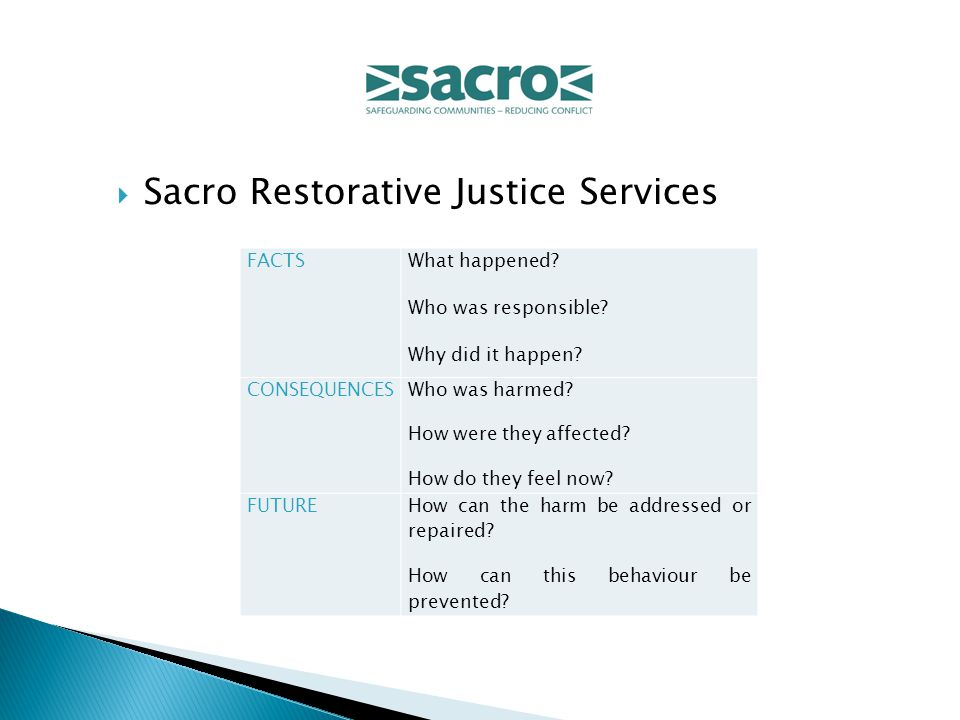  Sacro Restorative Justice Services FACTS What happened.