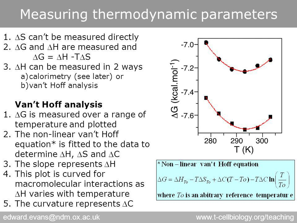 edward.evans@ndm.ox.ac.ukwww.t-cellbiology.org/teaching Measuring thermodynamic parameters 1.S can't be measured directly 2.G and H are measured and G = H -TS 3.H can be measured in 2 ways a)calorimetry (see later) or b)van't Hoff analysis Van't Hoff analysis 1.G is measured over a range of temperature and plotted 2.The non-linear van't Hoff equation* is fitted to the data to determine H, S and C 3.The slope represents H 4.This plot is curved for macromolecular interactions as H varies with temperature 5.The curvature represents C