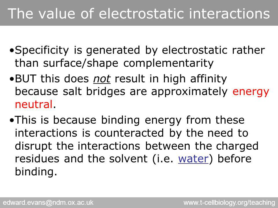 edward.evans@ndm.ox.ac.ukwww.t-cellbiology.org/teaching The value of electrostatic interactions Specificity is generated by electrostatic rather than surface/shape complementarity BUT this does not result in high affinity because salt bridges are approximately energy neutral.