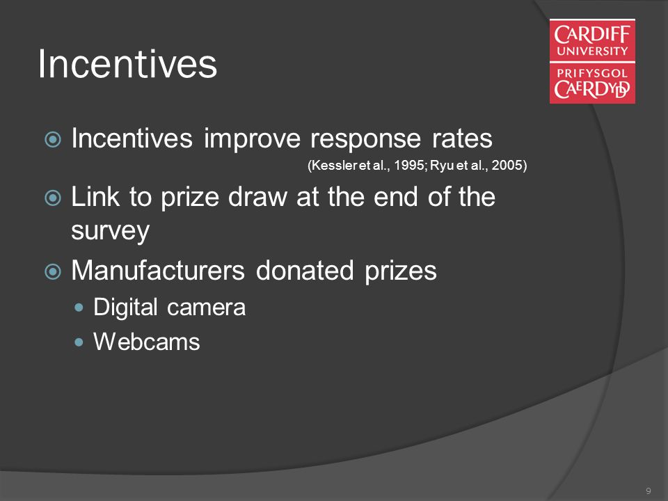 9 Incentives  Incentives improve response rates (Kessler et al., 1995; Ryu et al., 2005)  Link to prize draw at the end of the survey  Manufacturers donated prizes Digital camera Webcams
