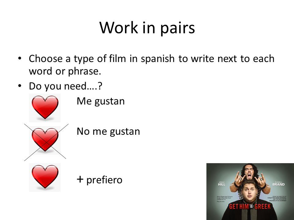 Work in pairs Choose a type of film in spanish to write next to each word or phrase.