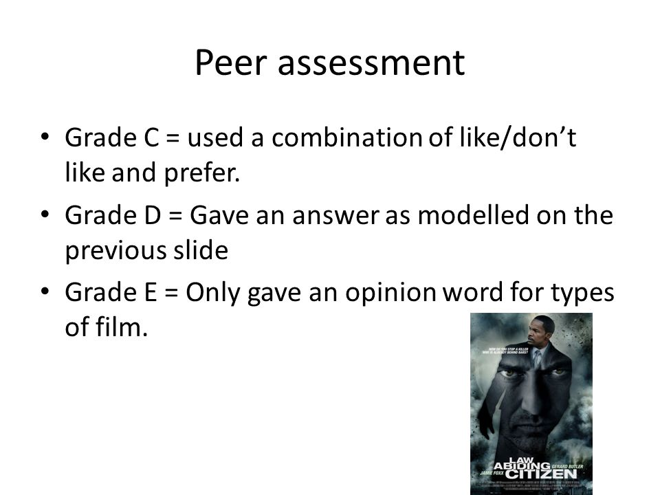 Peer assessment Grade C = used a combination of like/don't like and prefer.