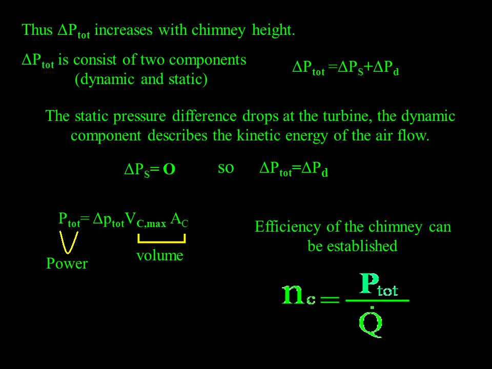Thus ΔP tot increases with chimney height.