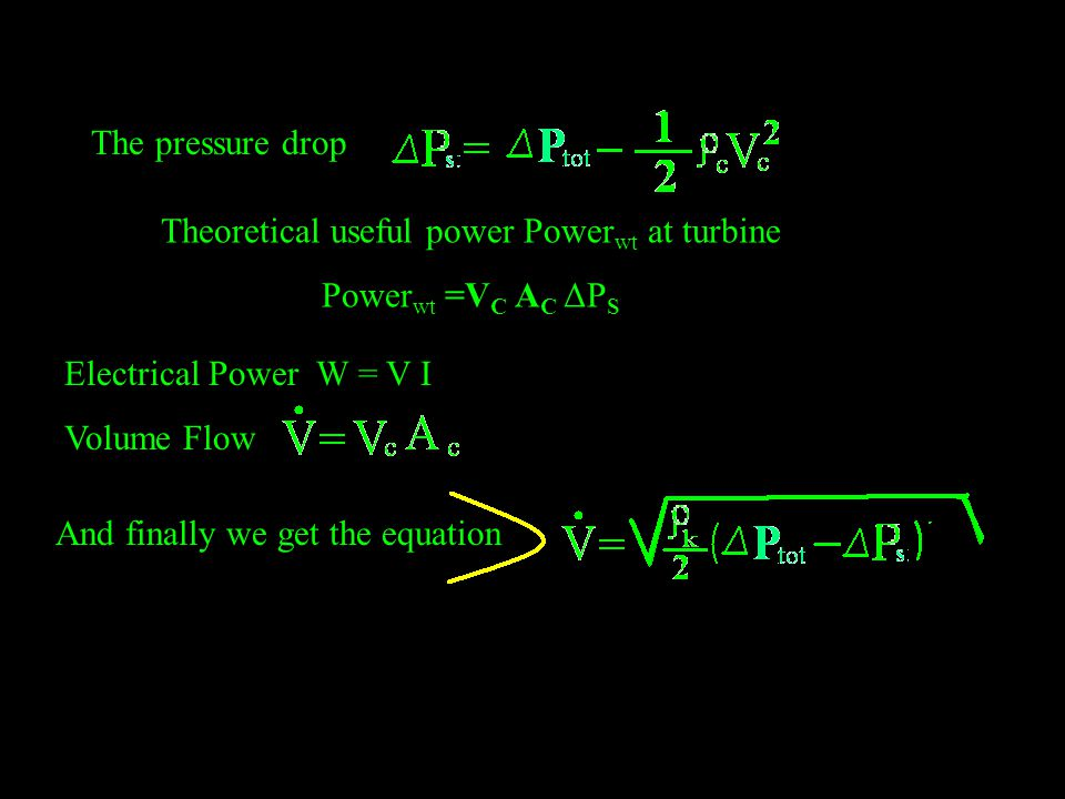 The pressure drop Theoretical useful power Power wt at turbine Power wt =V C A C ΔP S Electrical Power W = V I Volume Flow And finally we get the equation