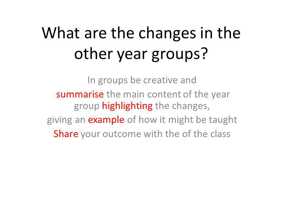 What are the changes in the other year groups.