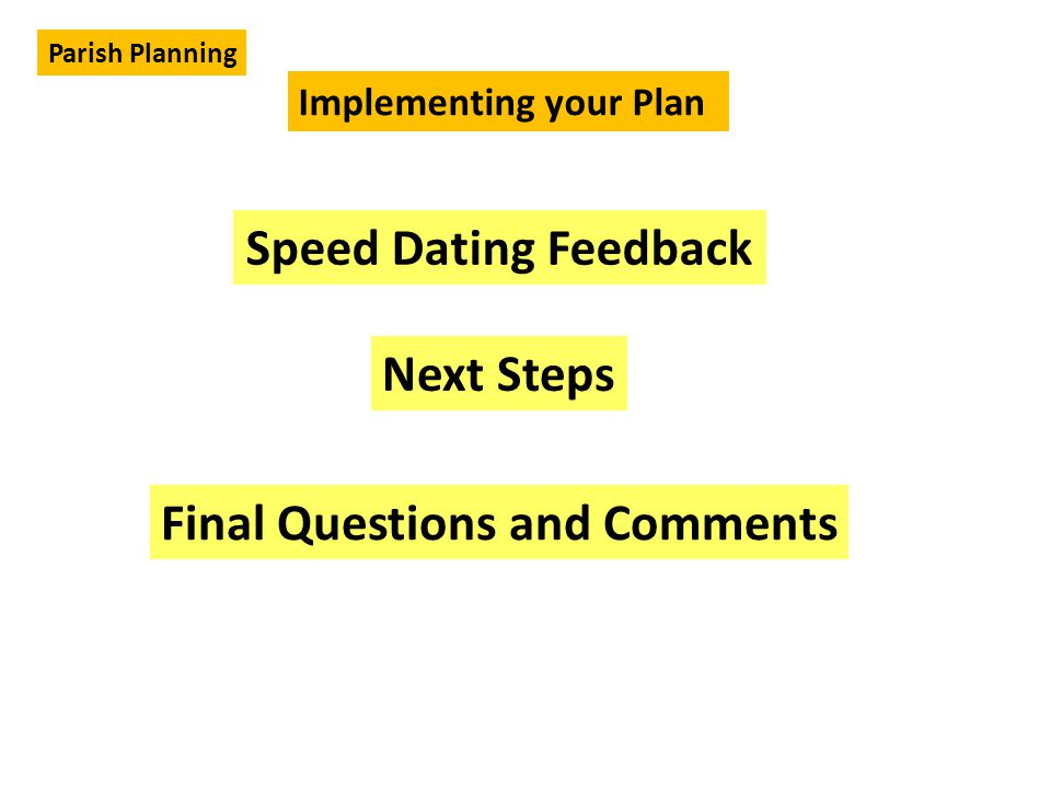 Speed Dating Feedback Implementing your Plan Parish Planning Next Steps Final Questions and Comments
