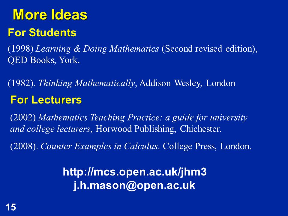 15 More Ideas (2002) Mathematics Teaching Practice: a guide for university and college lecturers, Horwood Publishing, Chichester.