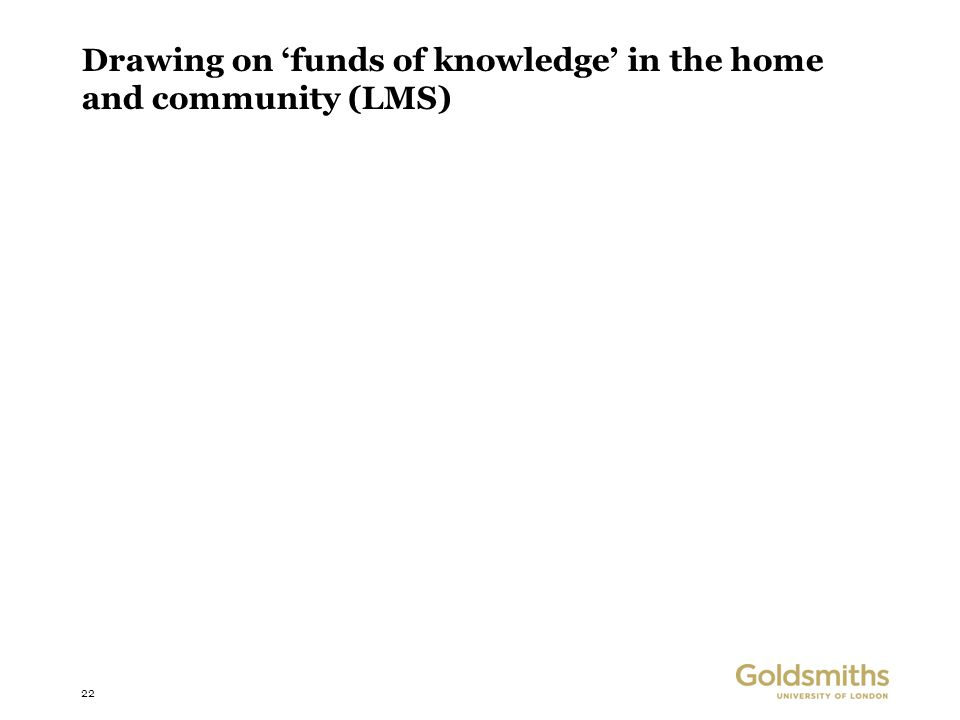 22 Drawing on 'funds of knowledge' in the home and community (LMS)